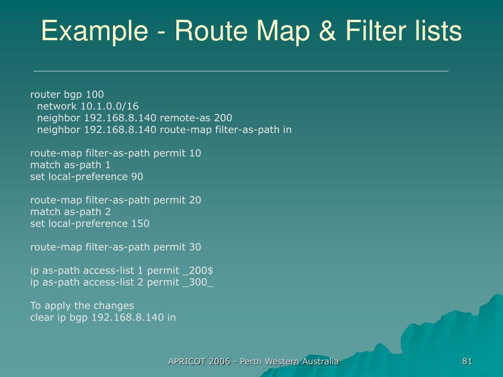 Example - Route Map & Filter lists