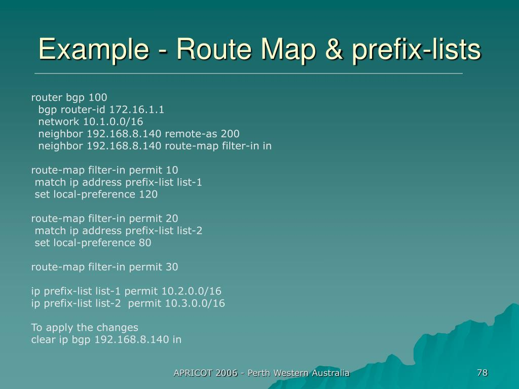 Example - Route Map & prefix-lists