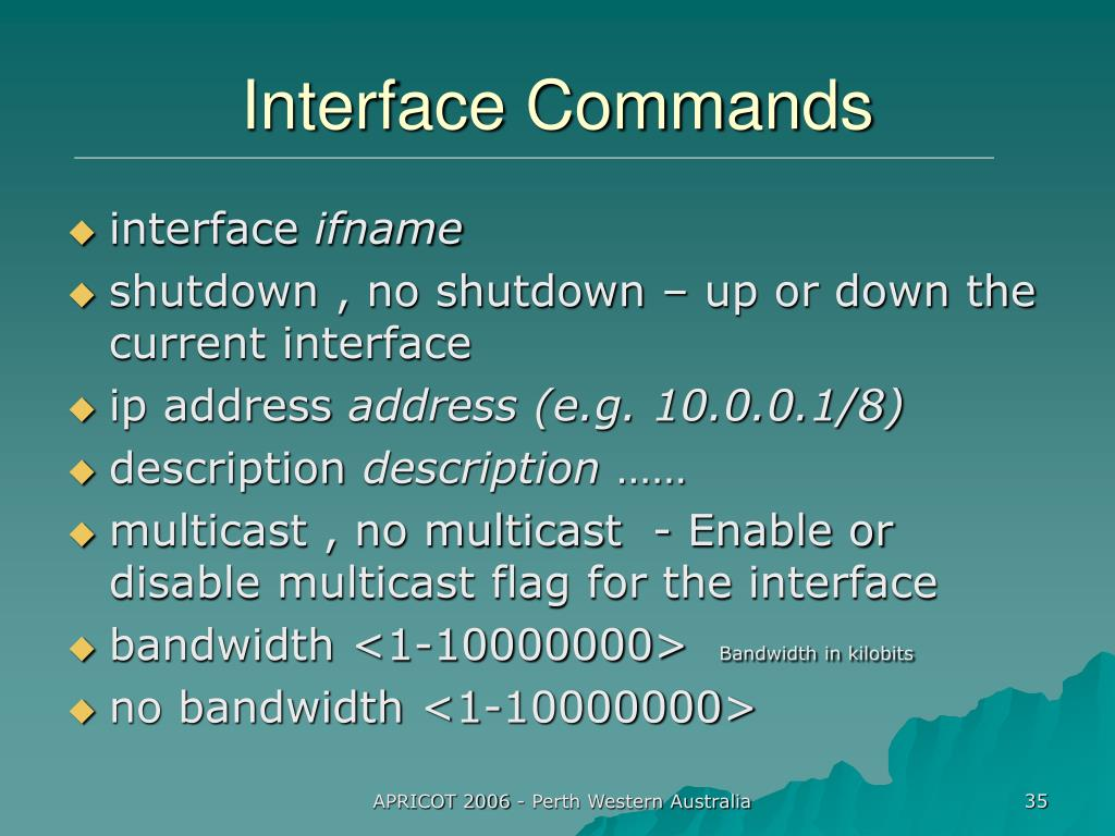 Interface Commands