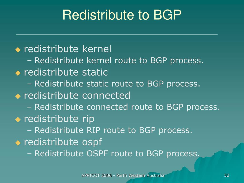 Redistribute to BGP