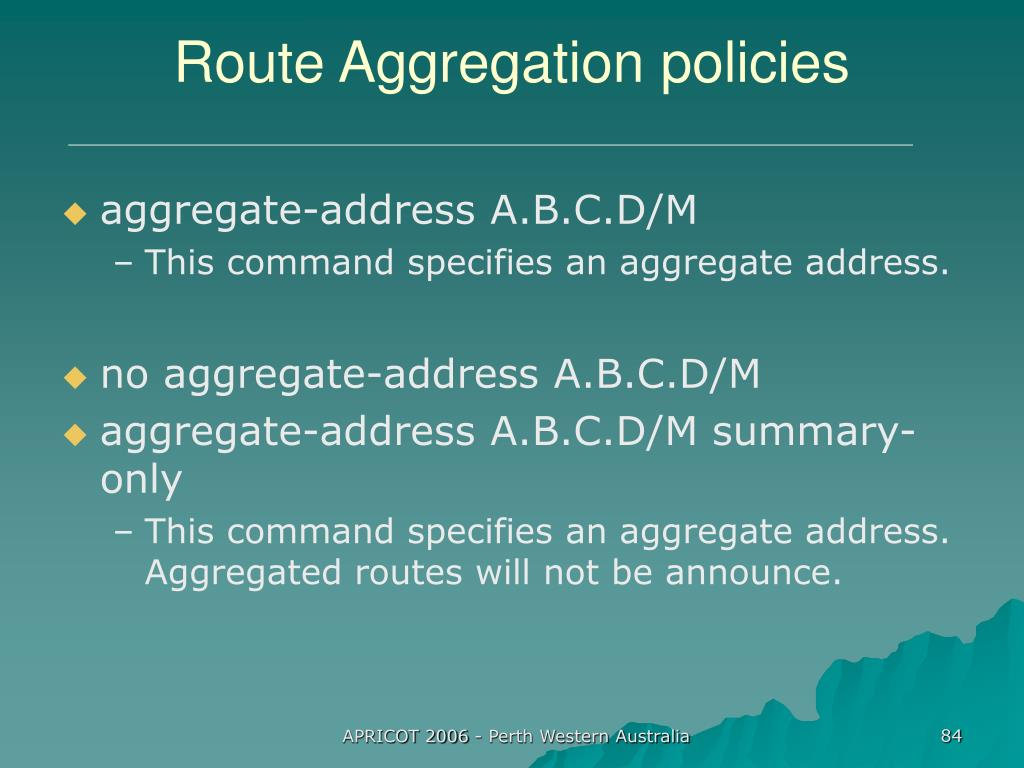 Route Aggregation policies