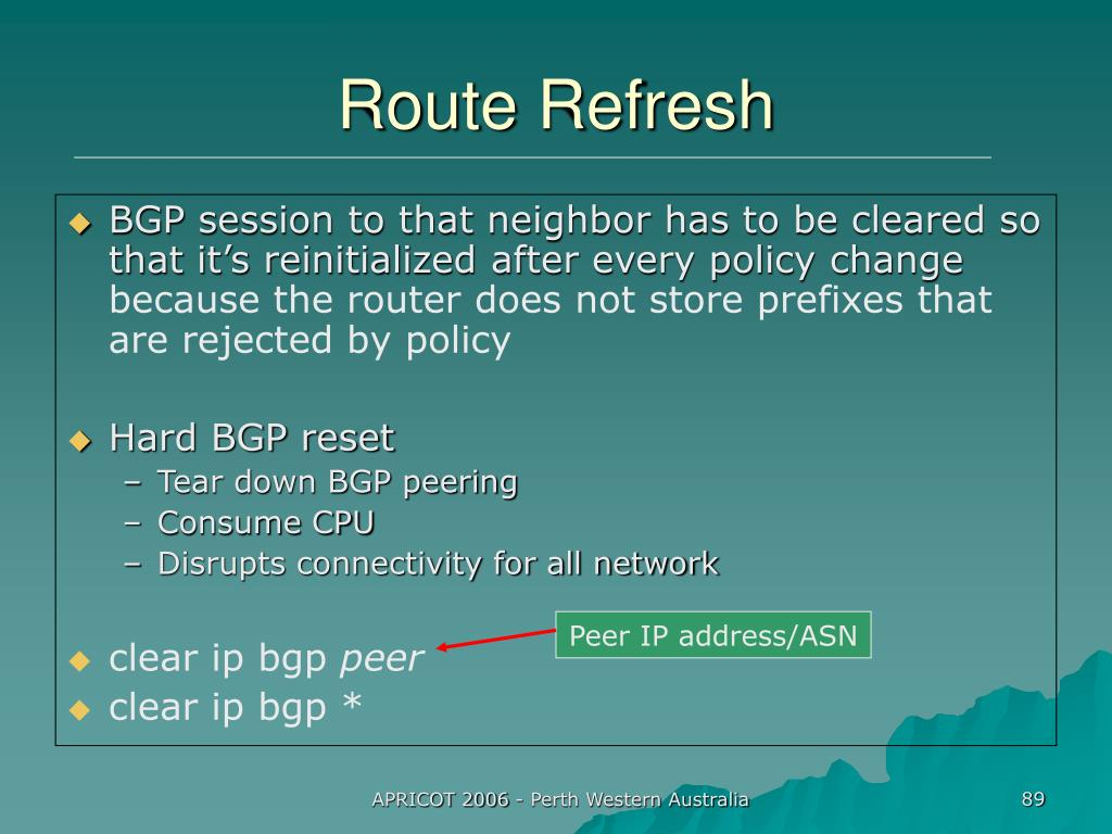 Peer IP address/ASN