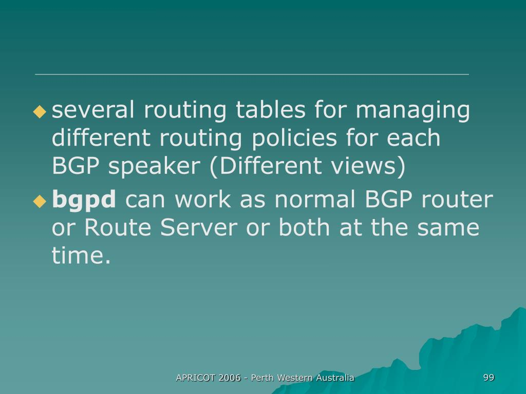 several routing tables for managing different routing policies for each BGP speaker (Different views)