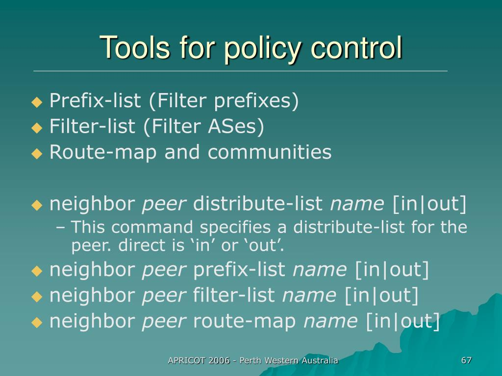 Tools for policy control