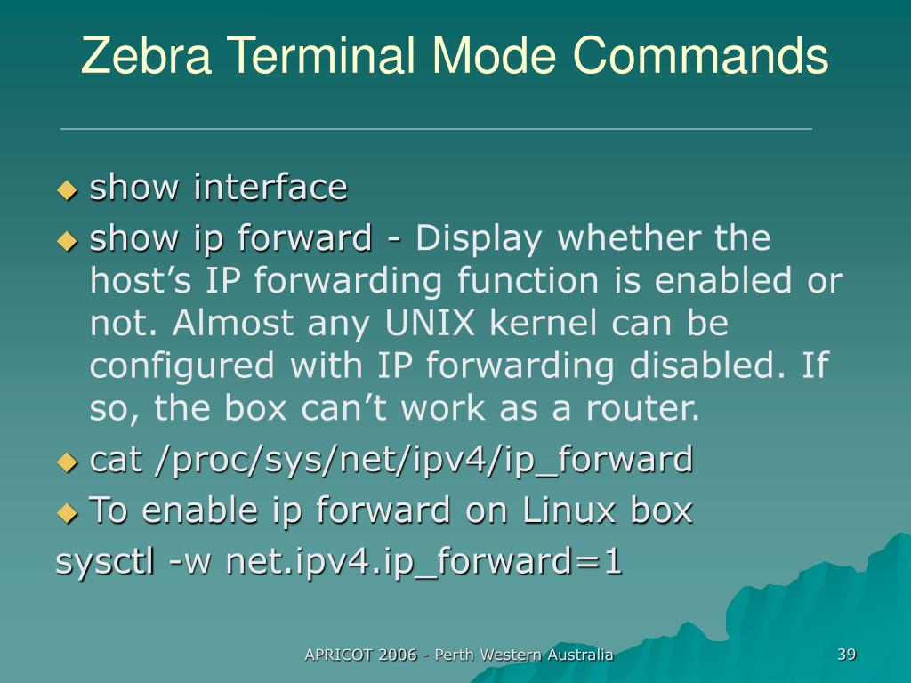 Zebra Terminal Mode Commands