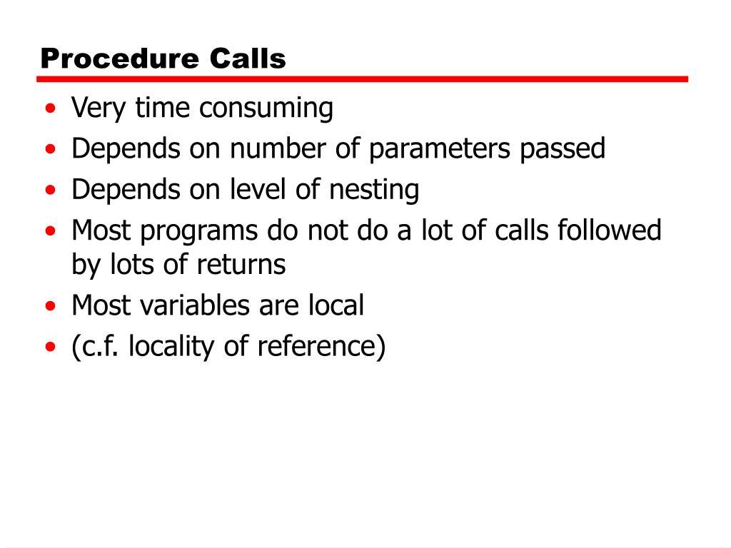 Procedure Calls