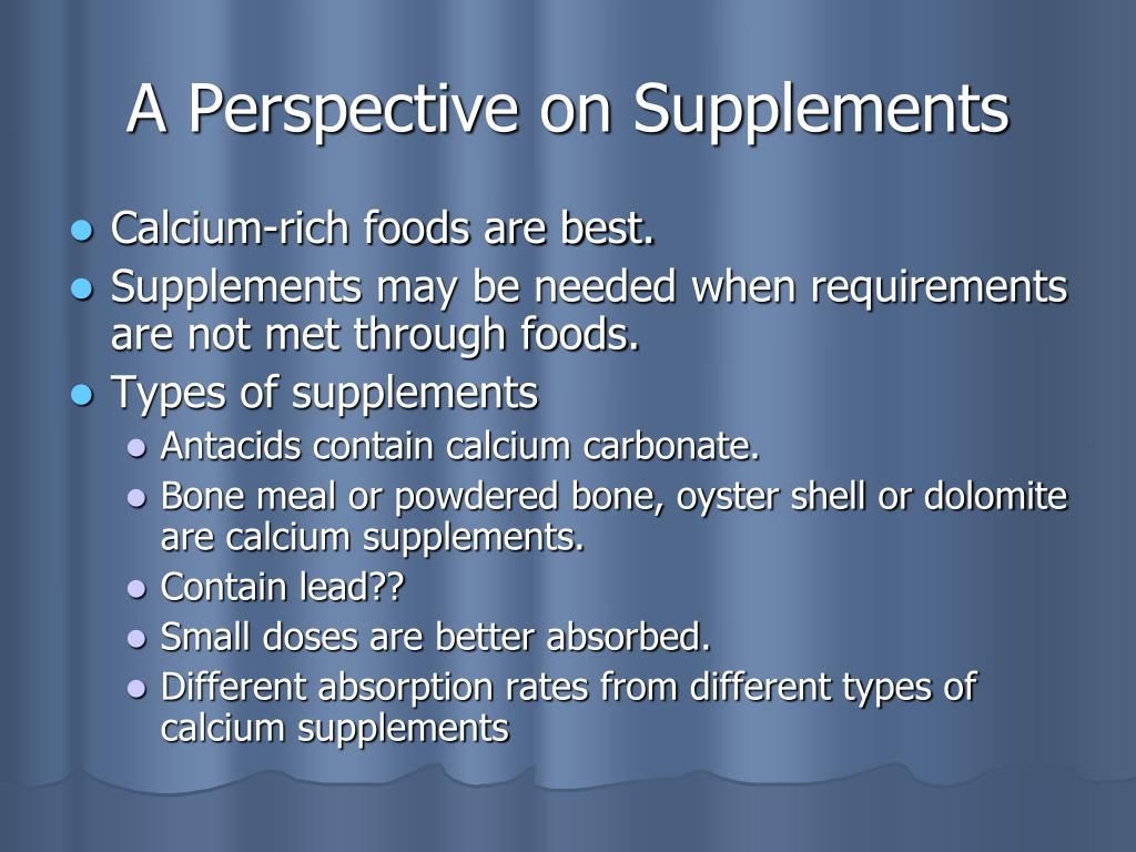 A Perspective on Supplements