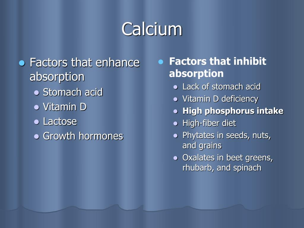 Factors that enhance absorption