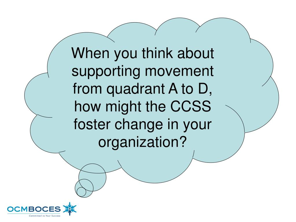 When you think about supporting movement from quadrant A to D, how might the CCSS foster change in your organization?