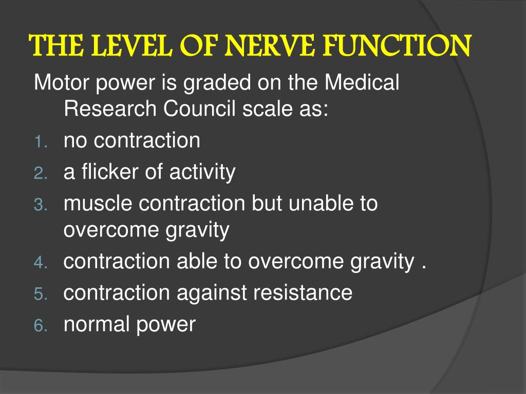 THE LEVEL OF NERVE FUNCTION