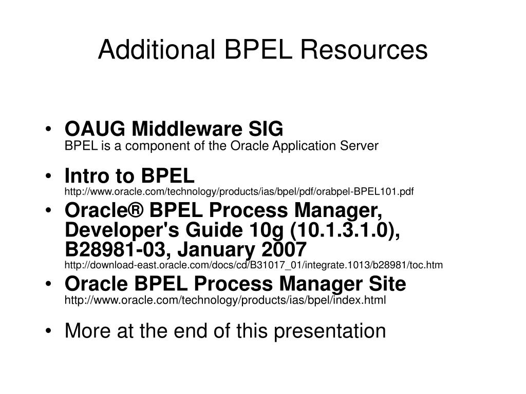 Additional BPEL Resources