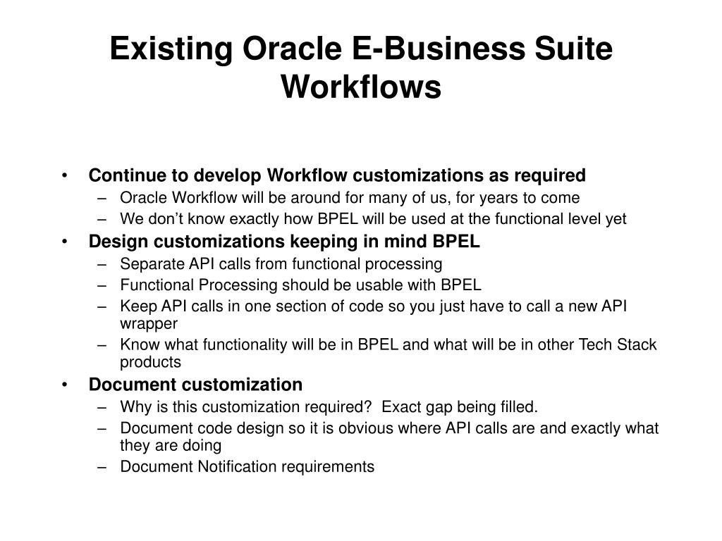 Existing Oracle E-Business Suite  Workflows