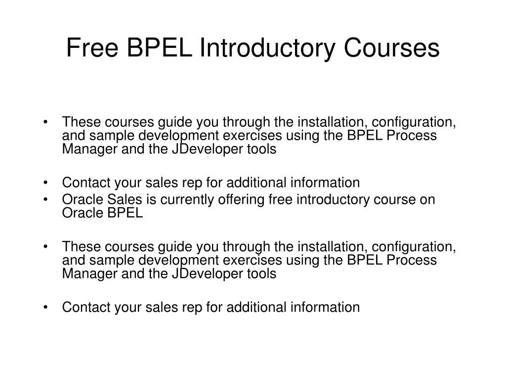 Free BPEL Introductory Courses