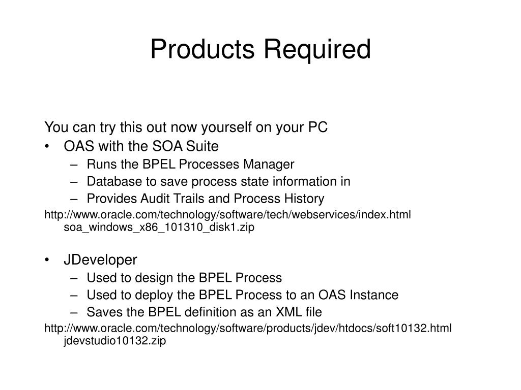 Products Required