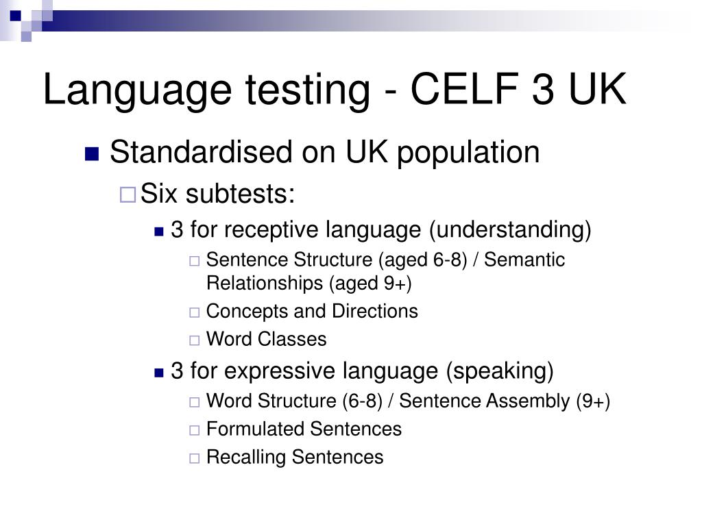 Language testing - CELF 3 UK