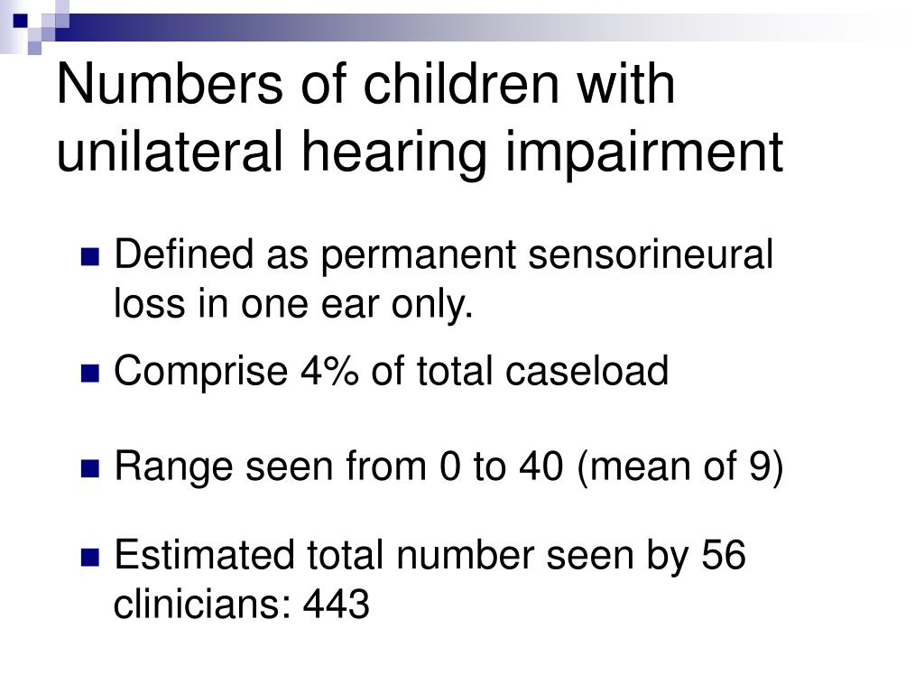 Numbers of children with unilateral hearing impairment