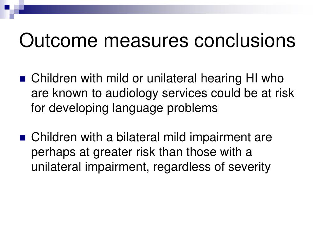 Outcome measures conclusions