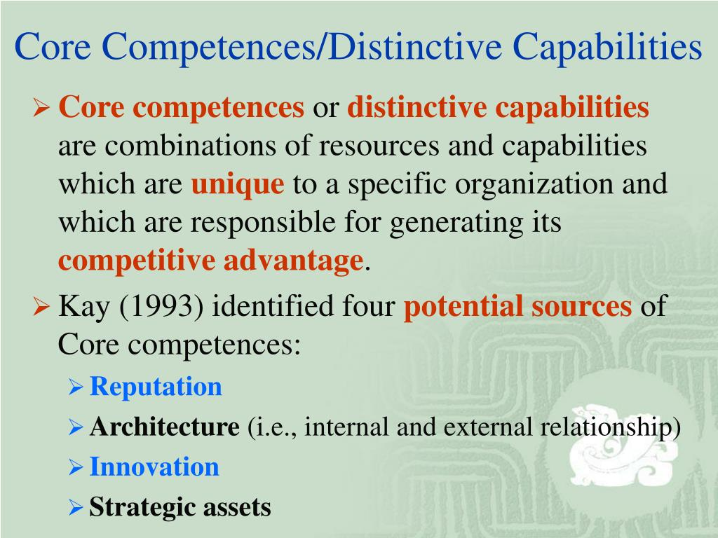 strategic capability threshold resources and competences distinctive resources and competences essen Position-based and resource-based strategies competencies threshold resources are the bare dealing first with the resources: to give strategic capability.