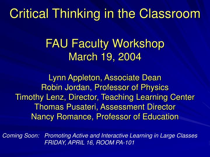 critical thinking in education powerpoint