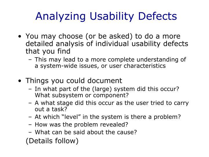 Analyzing Usability Defects