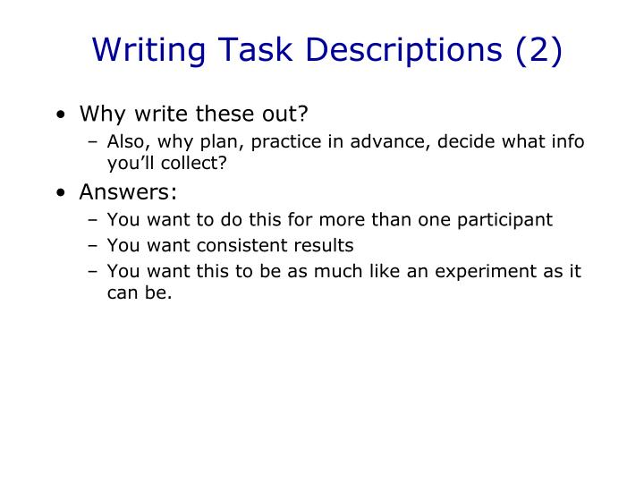 Writing Task Descriptions (2)