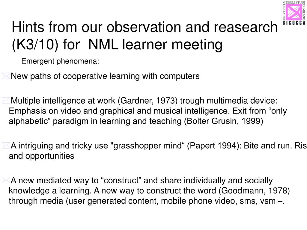 Hints from our observation and reasearch (K3/10) for  NML learner meeting