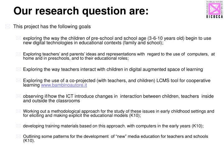Our research question are