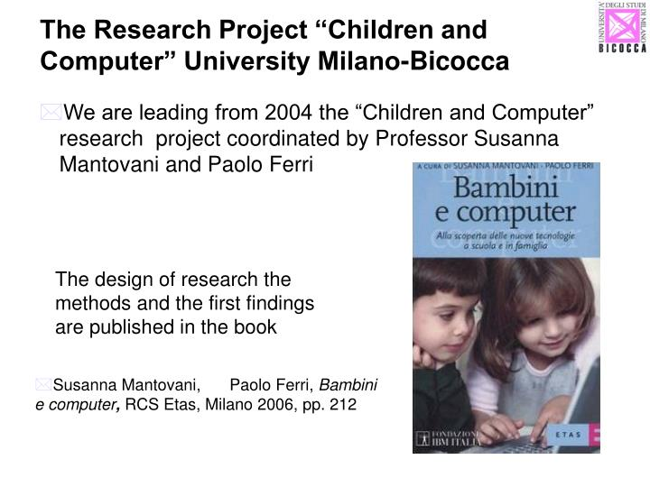 The research project children and computer university milano bicocca