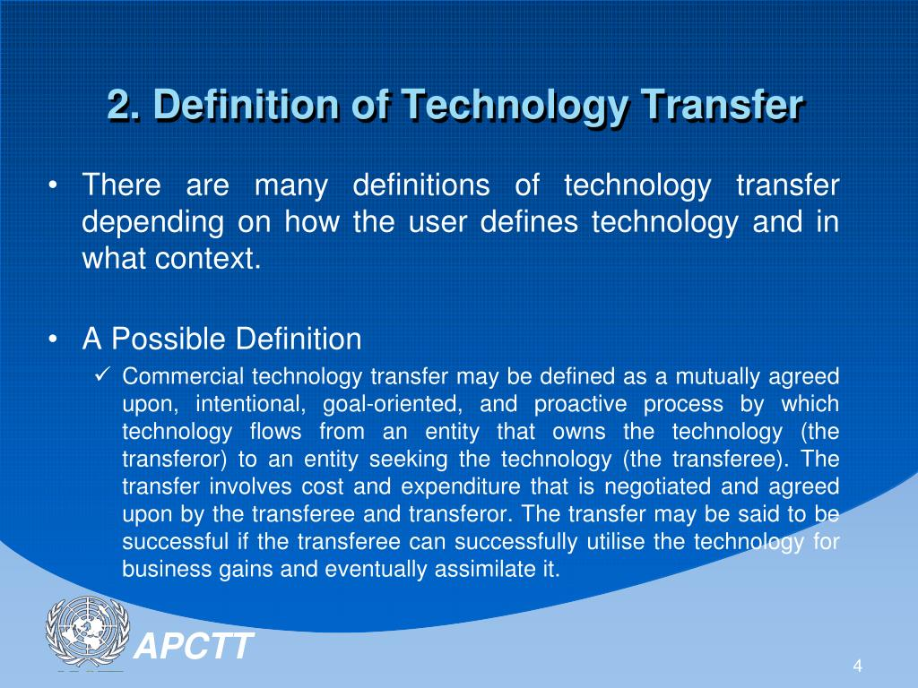 technology transfer definition definitions medium development south presentation horizontal vertical depending defines context many user there cooperation conference ppt powerpoint