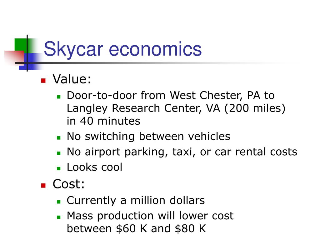 Skycar economics