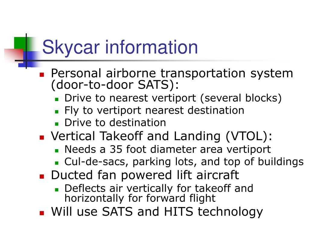 Skycar information