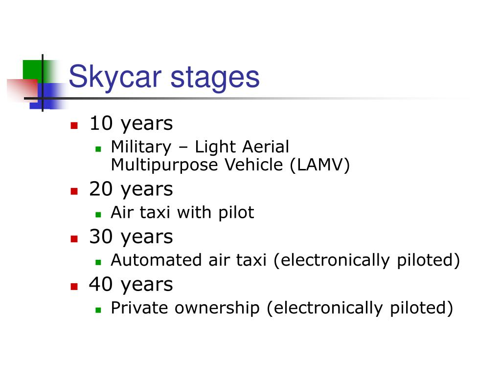 Skycar stages