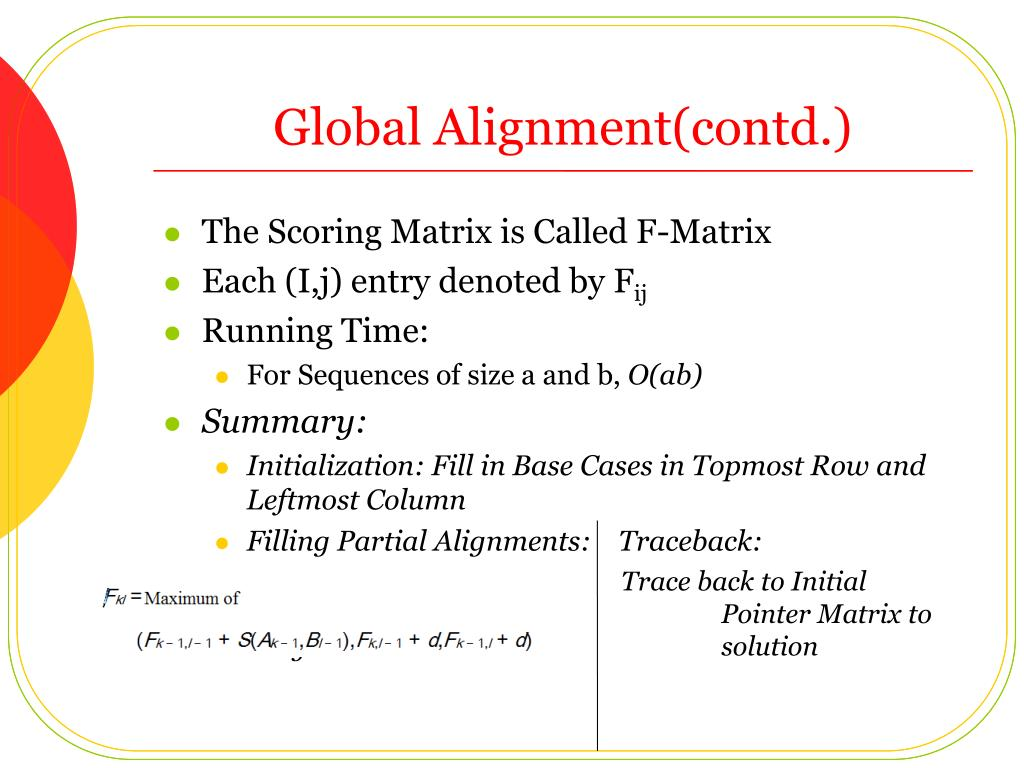 Global Alignment(contd.)