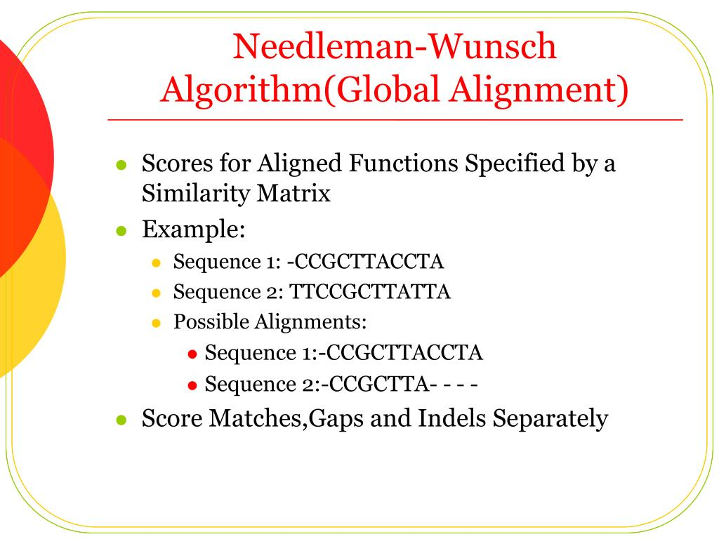 Needleman-Wunsch Algorithm(Global Alignment)