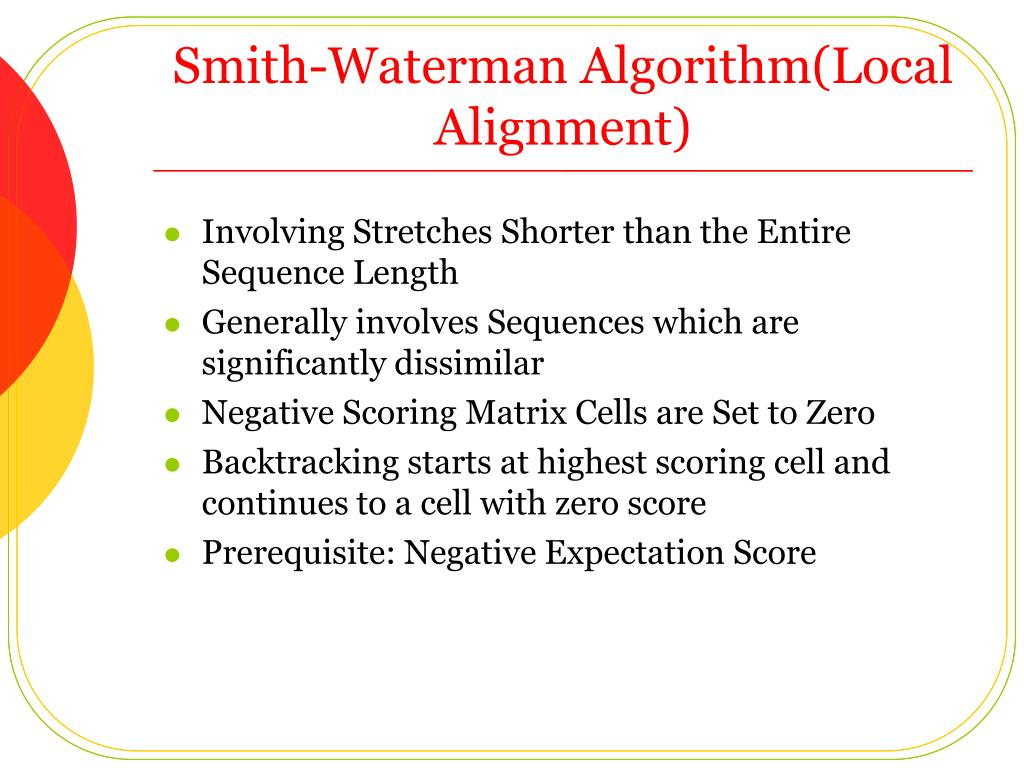 Smith-Waterman Algorithm(Local Alignment)