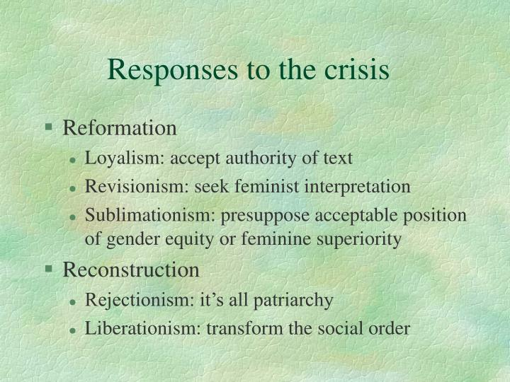 Responses to the crisis