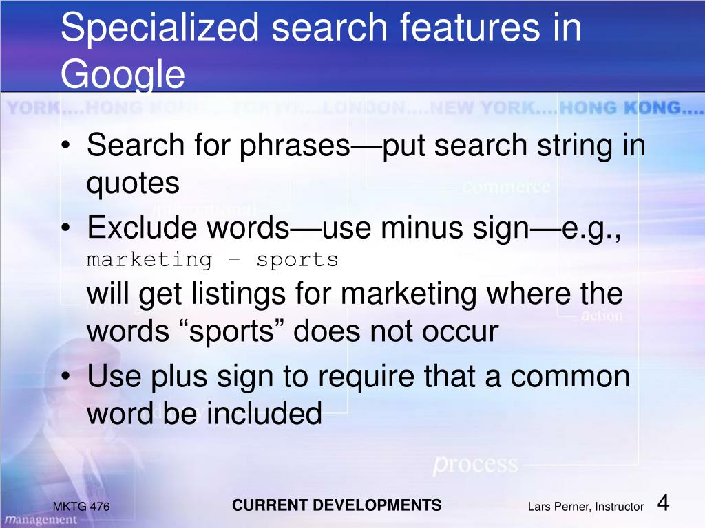 Specialized search features in Google