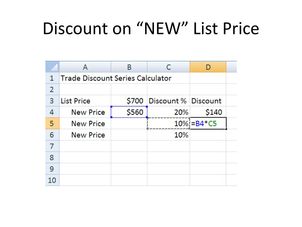 "Discount on ""NEW"" List Price"