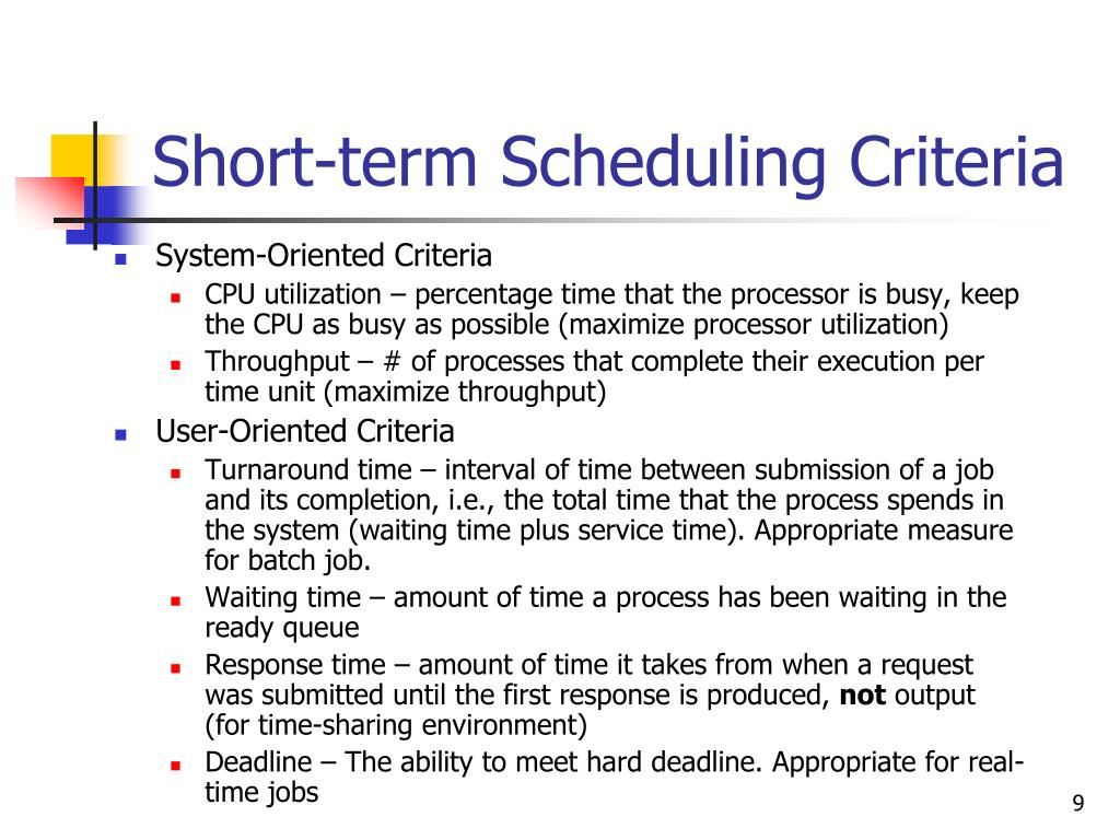 Short-term Scheduling Criteria