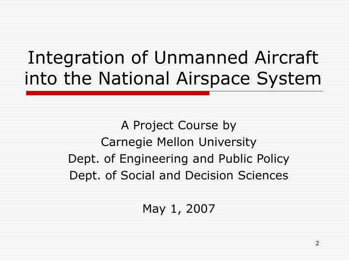 Integration of unmanned aircraft into the national airspace system
