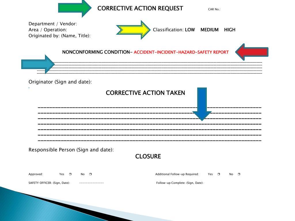 CORRECTIVE ACTION REQUEST