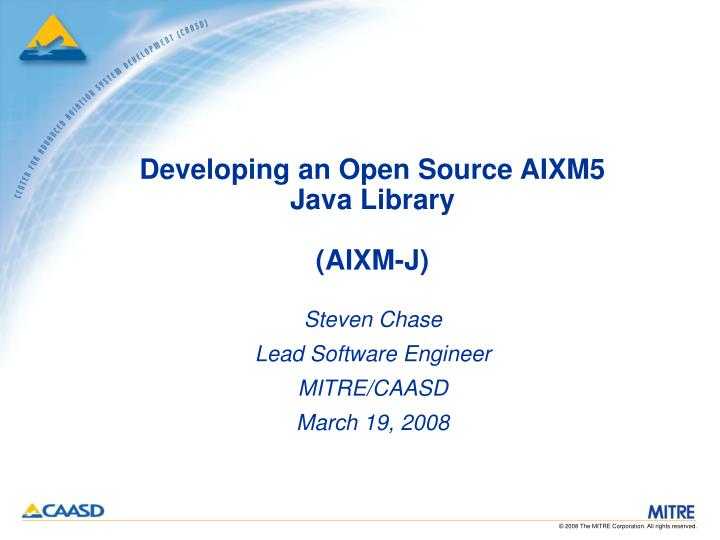 Developing an open source aixm5 java library aixm j