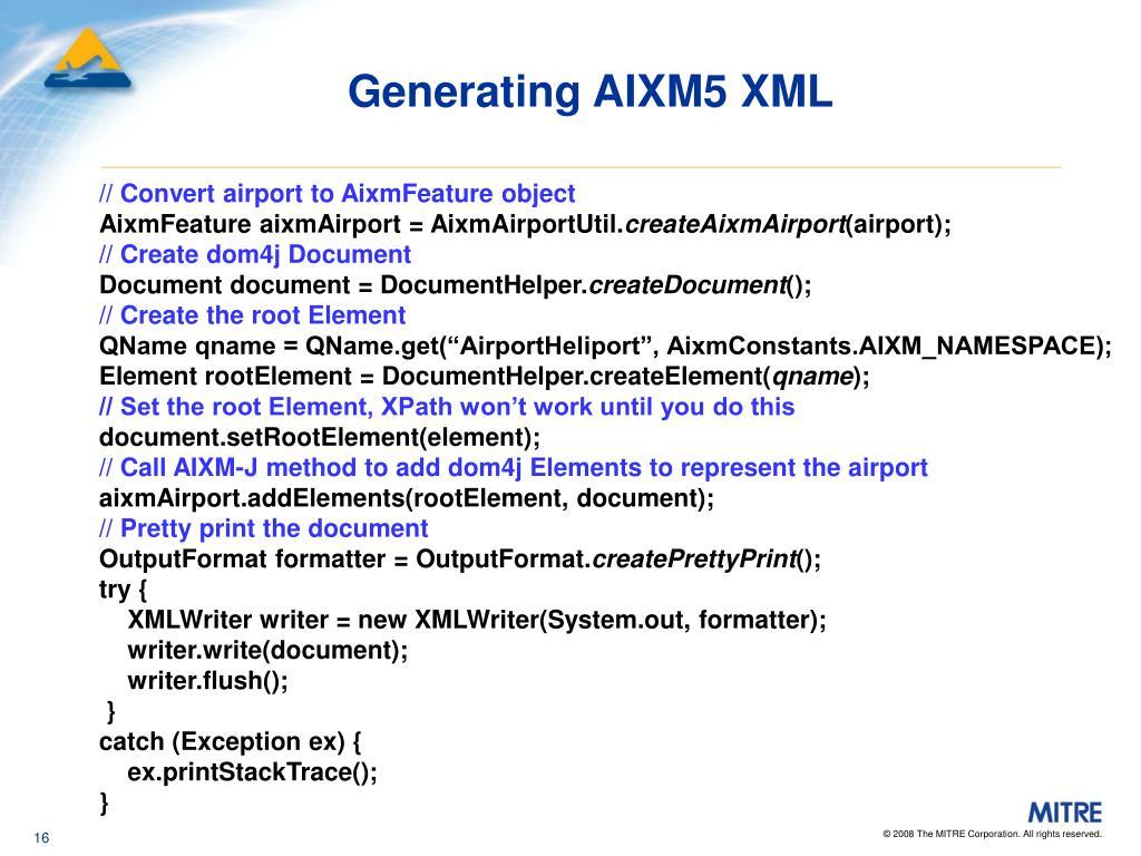 Generating AIXM5 XML