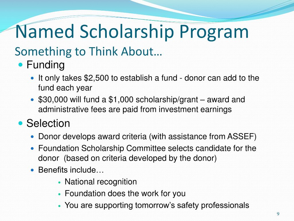 Named Scholarship Program