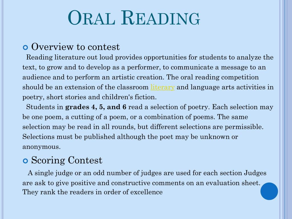 Oral Reading