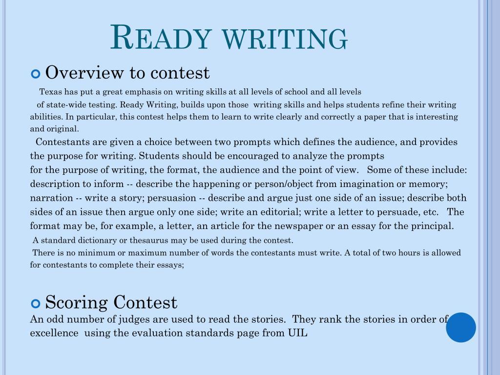 Ready writing