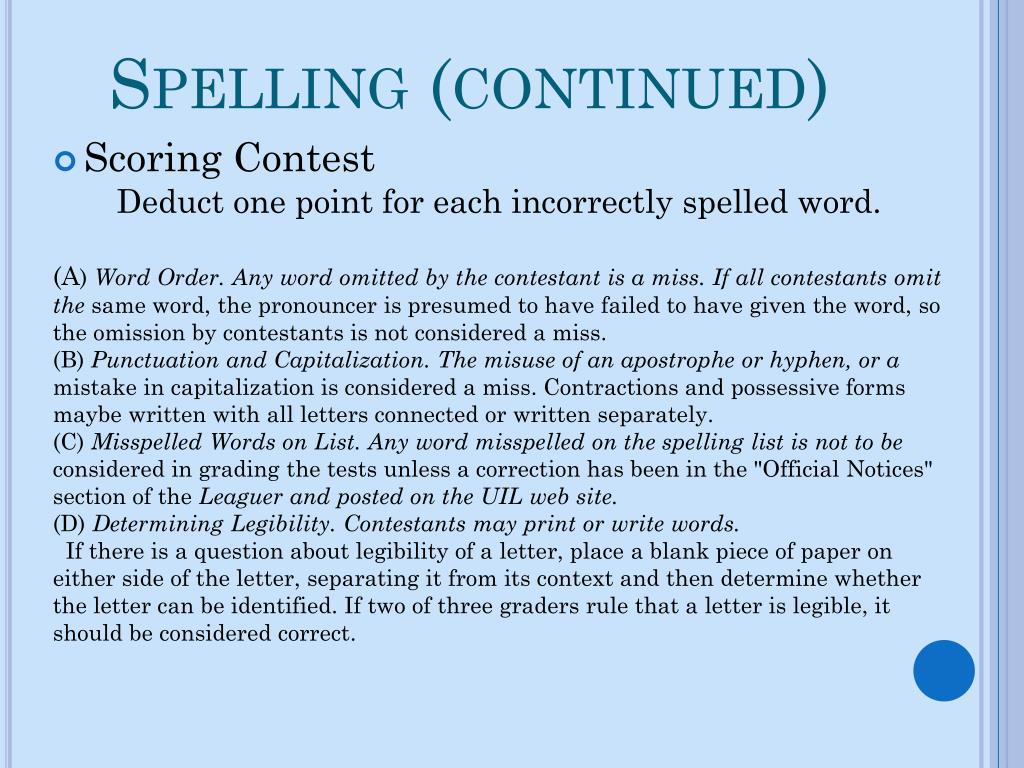 Spelling (continued)
