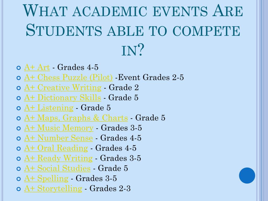 What academic events Are Students able to compete in?