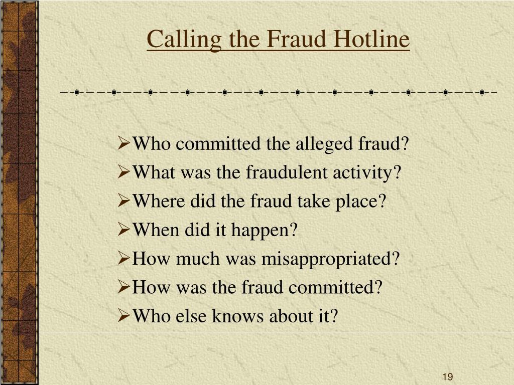 Calling the Fraud Hotline
