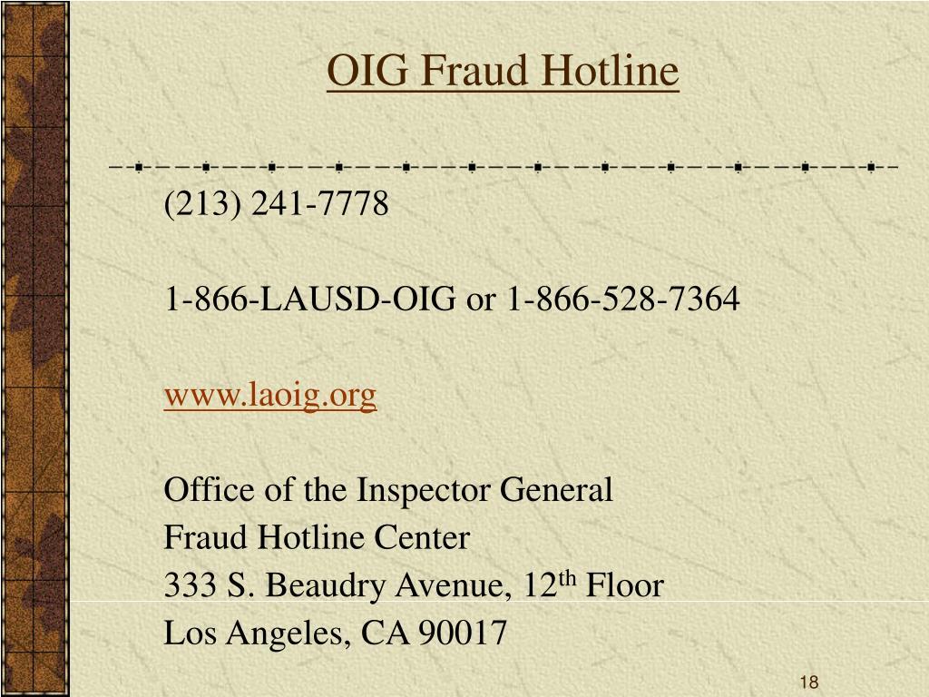 OIG Fraud Hotline